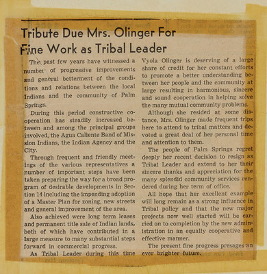 Press tribute to Olinger following her resignation from the Tribal Council, January 1959. The Desert Sun, February 10, 1959.
