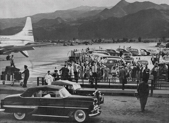 The Palm Springs Airport in 1955, after conversion from a military base into a municipal facility.