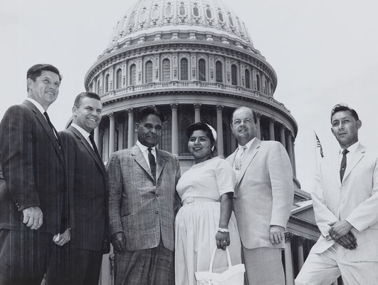 Tribal Council member Dora Joyce Prieto in Washington, DC, with US Congressman D. S. Saund and our delegation from Palm Springs, 1958.