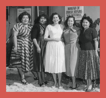 The second all-women Tribal Council, 1956. From left are LaVerne Saubel,  Elizabeth Pete Monk, Gloria Gillette, Vyola Olinger, and Eileen Miguel.