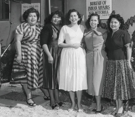 Second all-women Tribal Council, elected 1956. Left to right: LaVerne Saubel, Elizabeth Pete Monk, Gloria Gillette, Vyola Olinger, and Eileen Miguel.