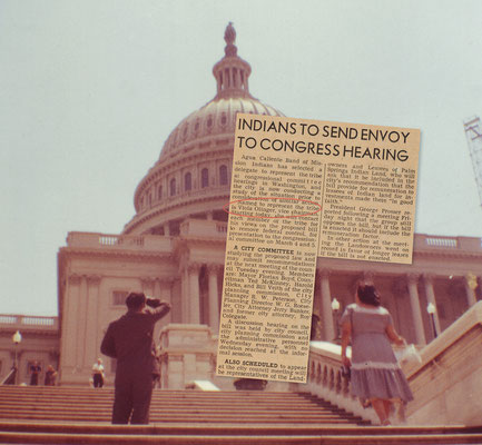 Press coverage of Vyola's attendance at joint congressional hearings on the federal government's new Indian policy of termination. The Desert Sun, March 1954. Eileen Miguel ascending the steps of the Capitol, Washington, DC, late 1950s.
