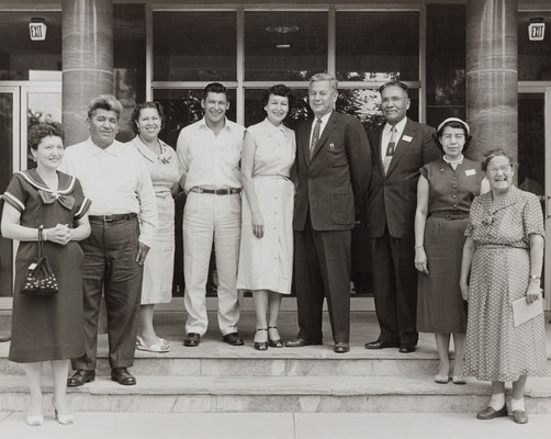 "Being honored (third from the left) by the Whitney Foundation as among ""Outstanding American Indians,"" Fisk University, Nashville, Tennessee, June 1956. John Artichoker, Jr. (to my immediate right); Mr. and Mrs. Joseph R. G arry (center);  Nelson Jose."