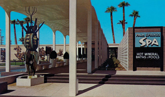 Entrance to the multimillion-dollar Palm Springs Spa, after completion of the adjacent Spa Hotel, 1963. By the grand opening of the Spa Hotel in April 1963, the landscaping for the Palm Springs Spa had begun to take hold and there had been a slight change