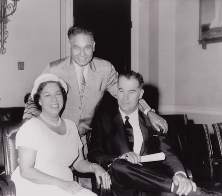In Washington, DC, with US Congressman D. S. Saund (standing) and Mayor of Palm Springs, Frank Bogert (seated), late 1950s.