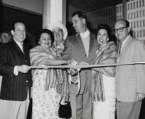 At the gala opening of the Palm Springs Spa, 1960. Left to right, Samuel Banowit; Eileen Miguel; Frank Bogert; Vyola Olinger; and Scotty Rubin.