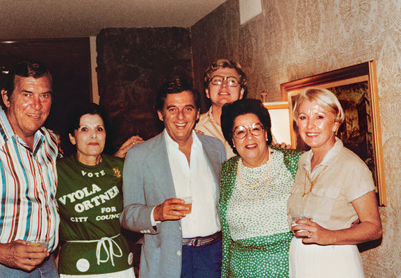 Celebrating after winning my election to the Palm Springs City Council, April 1980. From left are Ed Hoban, Sally Sands, Bernie Lisker, me, Rosemary Hoban, and an unidentified participant.
