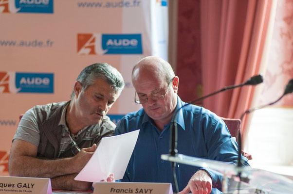 (à droite) Francis SAVY Maire de Mazuby (11) et Conseillé départemental de Quillan