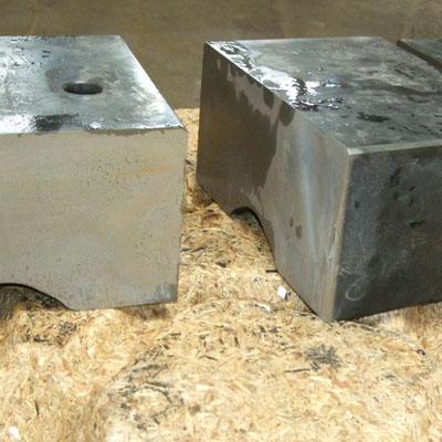 Trennschnitt eines 9cm dicken Blocks aus gehärtetem Stahl