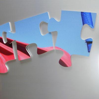 Puzzle aus PVC-Hartschaum gefräst mit frontseitigm Digitaldruck