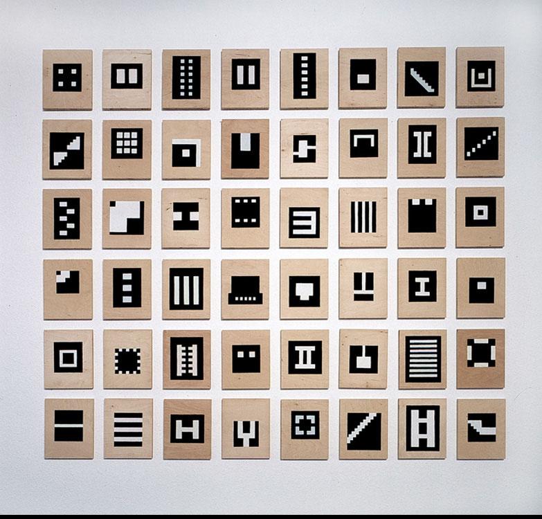 Diagramm, 1998, Guache auf Holz, 48-teilig, Einzelelement 21x17 cm