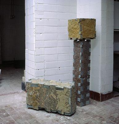 Quader Säule Kubus, 1993, Anröchter Dolomit, 42x70x20 cm, 104x19x19 cm, 30x30x30 cm