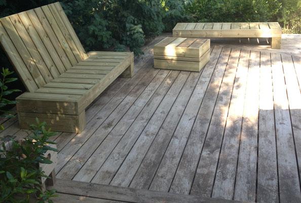 Salon d'extérieur, aménagement terrasse