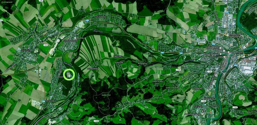 Luftbild mit Steyr