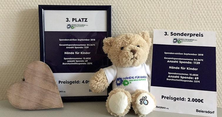 Hände für Kinder e.V. - 3. Platz 2018-Spendenaktion von der Beiersdorf & Betterplace