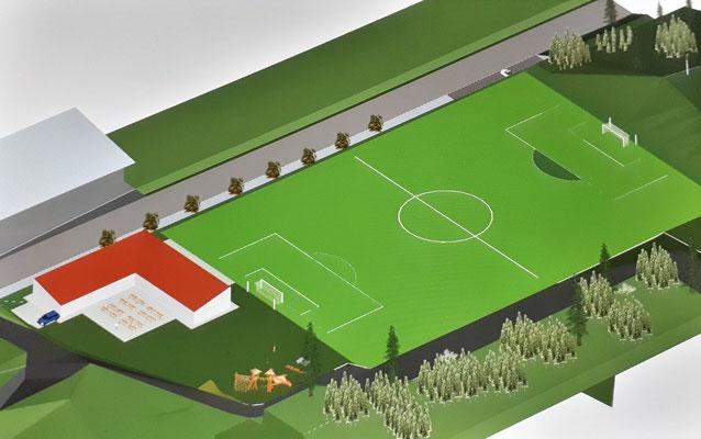 Vom alten Sportheim bleibt nichts mehr übrig. Der Hang wird ca. 10 Meter abgetragen, um die Spielfeldgröße von 96 x 65 Meter zu erhalten.