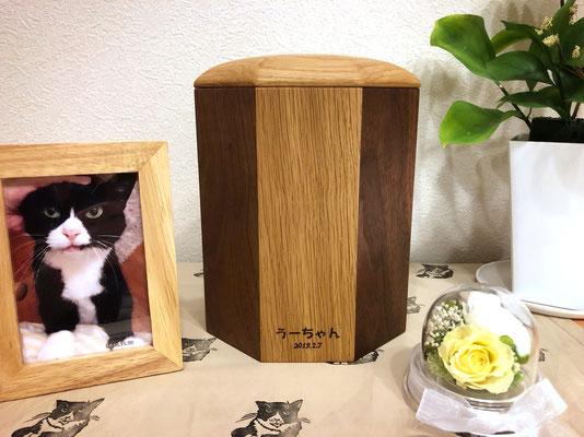 S様邸 うーちゃん(ハチワレ猫)4号寸 ナラ&ウォールナット