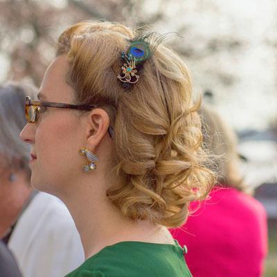 Haarspange Pfauenfeder