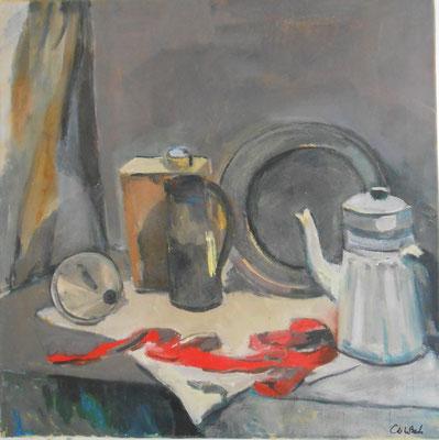 Cafetière au ruban rouge