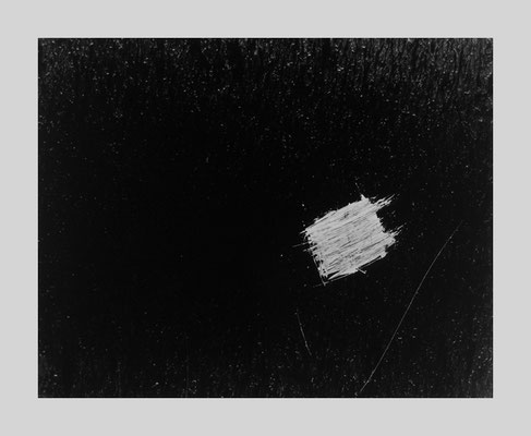 Untitled (Floating white scratch square on black), 1958
