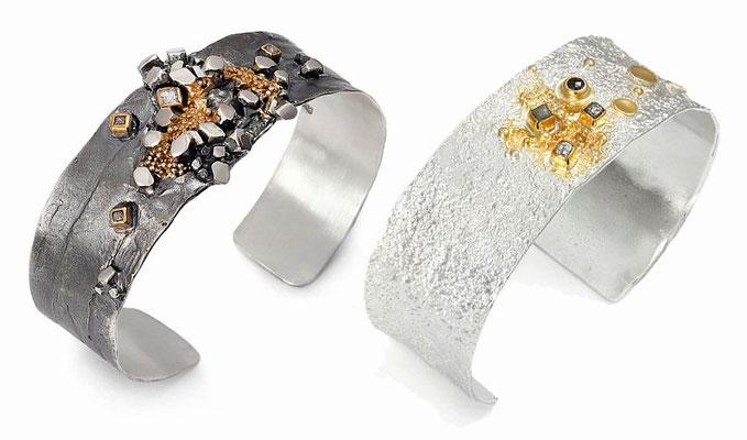 li Armreif Silber/geschwärzt mit Feinvergoldungweißer Saphir und Rohdiamanten 565€ --- re Armreif Silber feinvergoldet mit Rohdiamanten + schwarzen Diamanten 550€