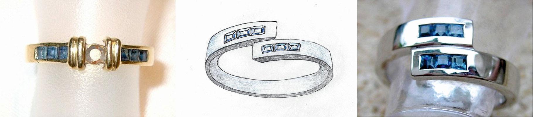 Alter Gold-Safirring zu neuem Weisgold-Safirring