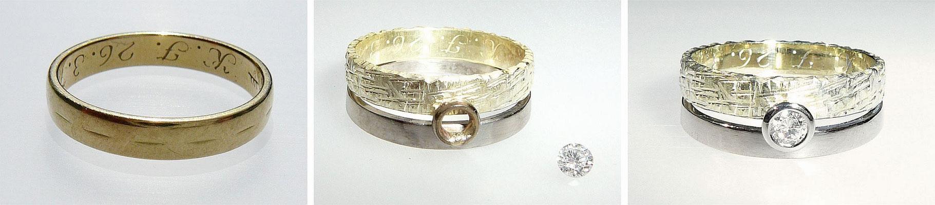 Kunden-Trauring an Ring gelötet und Brillant-Fassung aus Weißgold