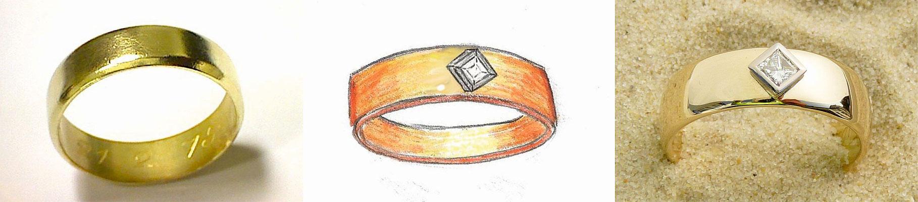 Getragen Trauring hochglanzpoliert und Weißgold-Fassung für Diamant im Prinzess-Schliff