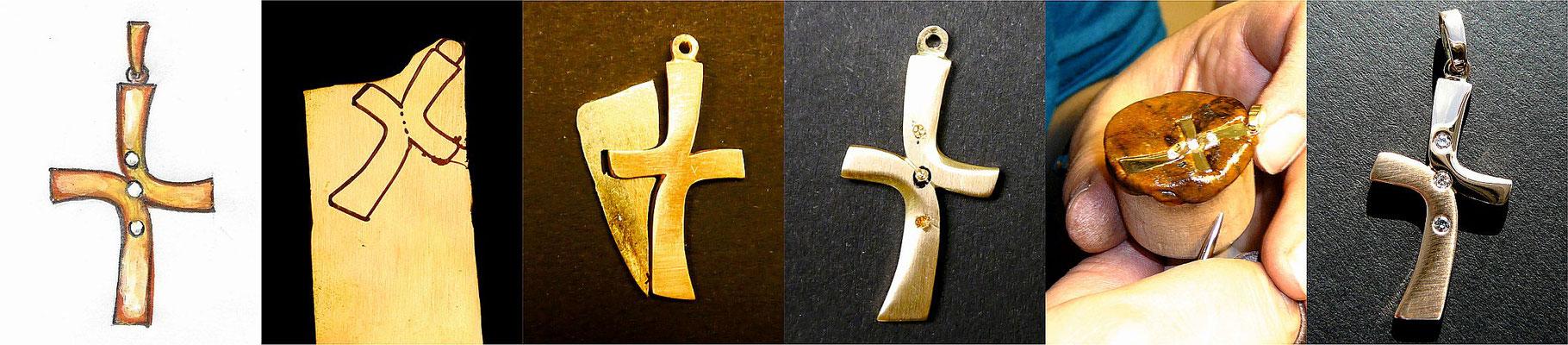 Kreuz-Anfertigung aus Goldblech mit 2 Brillanten, verschieden poliert