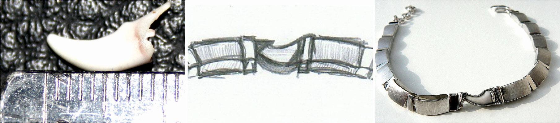 Welpen-Milchzahn in Armband aus Sterling-Silber