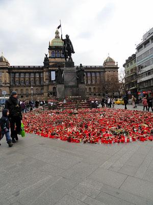 Herdenking voor Vaclav Havel op het Wenceslausplein