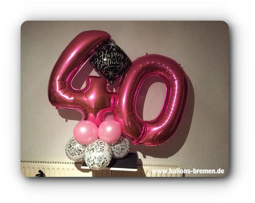 Folienzahl in pink zum 40. Geburtstag