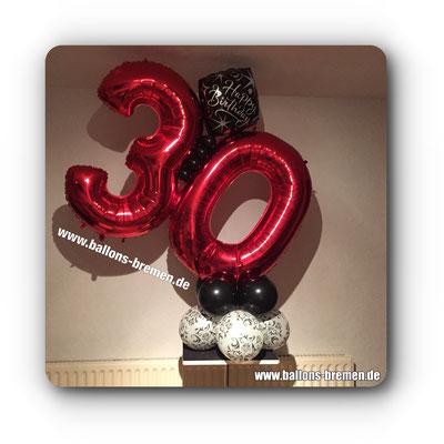 Folienzahl 30 als großes Ballongeschenk