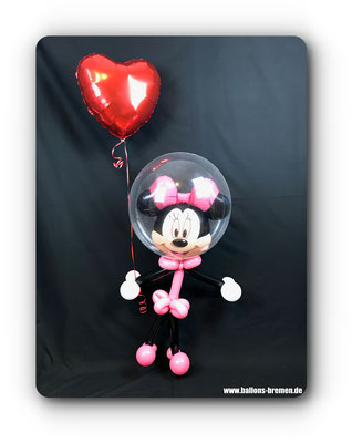 Minnimaus aus Ballons mit Herzluftballon