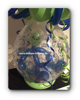 Alien im Luftballon zum Geburtstag eines Wellallfans