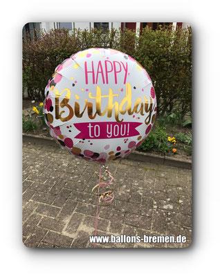 Happy Birthday Ballon mit Helium