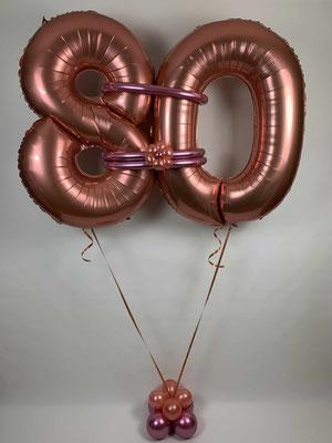 Folienzahlen in rosé gold zum 80. Geburtstag