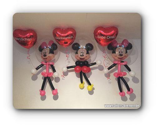 Mickey und Minnimaus aus Luftballons