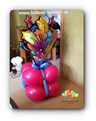 Großes Ballongeschenk mit Sternen