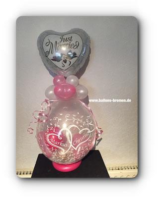 Just Married - Ballongeschenk mit Verpackung