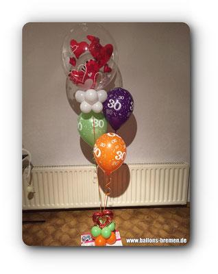 Geschenk aus Ballons zum 30. Geburtstag