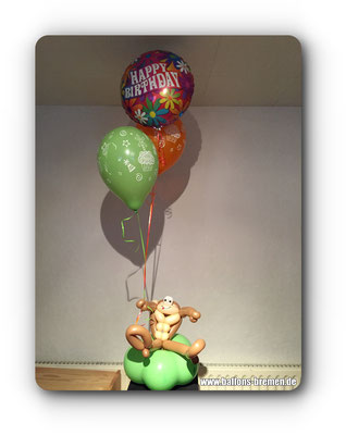Geburtstag mit Blumen und Affen