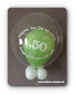Grüner Luftballon zum 50. Geburtstag