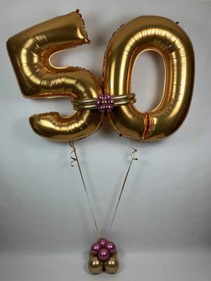 Folienzahlen in gold zum 50. Geburtstag
