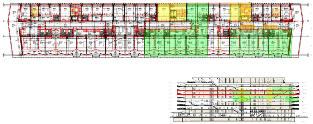 Overview of the 6th floor. Wohnen+ Basel flats are highlighted green. The elevators and stairs connecting the floors are highlighted yellow.
