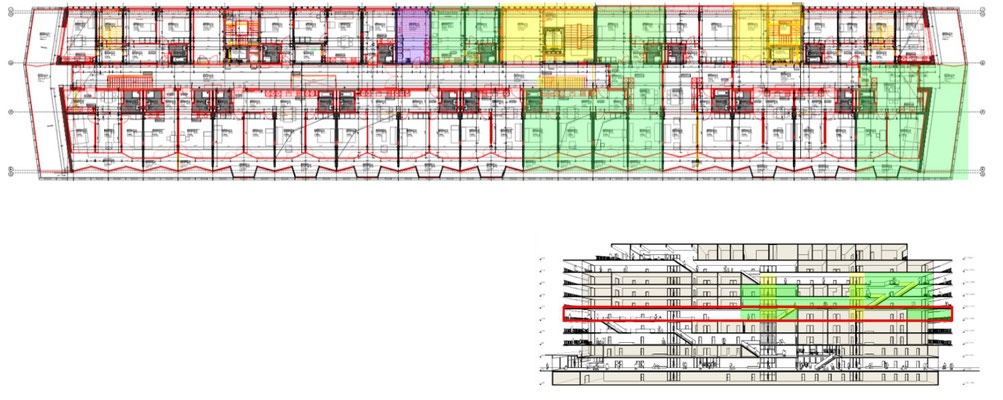 Overview of the 4th floor. Wohnen+ Basel flats are highlighted green. The laundry room is highlighted purple.  The elevators and stairs connecting the floors are highlighted yellow.
