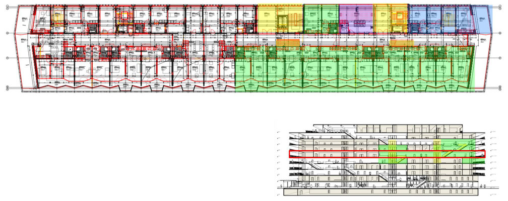 Overview of the 5th floor. Wohnen+ Basel flats are highlighted green. Our Common Room is highlighted blue. The laundry room is highlighted purple.  The elevators and stairs connecting the floors are highlighted yellow.