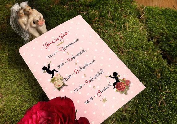 """Programmkarte Rückseite """"Märchenhochzeit"""" www.gleichundgleich.com"""