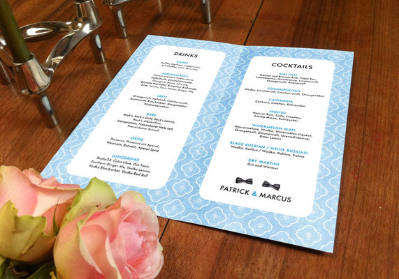 """Cocktailkarte """"Two Married Men"""" www.ihrhochzeitsplaner.berlin"""