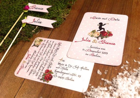 """Save The Date """"Märchenhochzeit"""" www.gleichundgleich.com"""